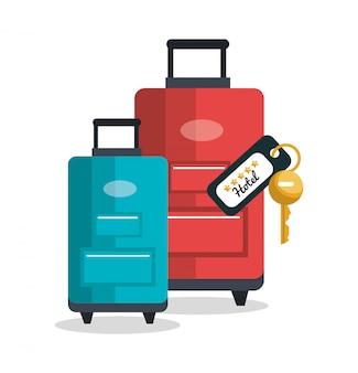 Ícone isolado de serviço de transporte de bagagem