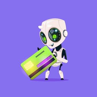 Ícone isolado do cartão de crédito da posse do robô bonito na inteligência artificial da tecnologia moderna do fundo azul