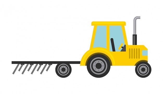 Ícone isolado do veículo fazenda trator