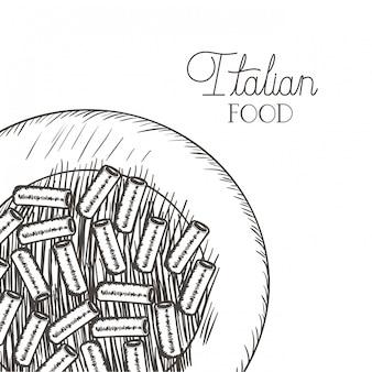 Ícone isolado italiano delicioso macarrão