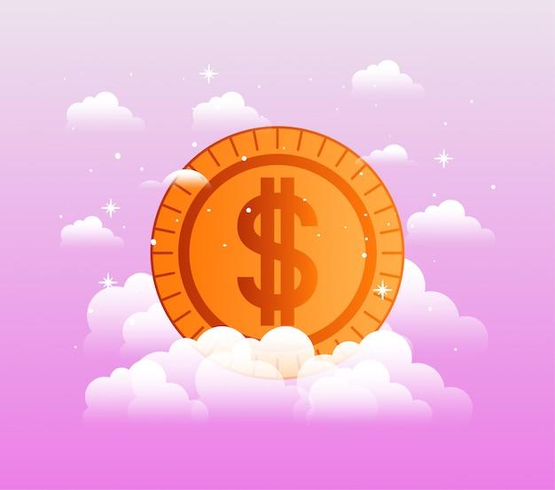 Ícone isolado moeda de dinheiro
