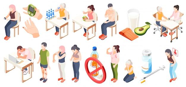 Ícone isométrica de diabetes conjunto com dieta de sintomas, teste de glicose no sangue e ilustração em vetor descrições restrições