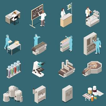 Ícone isométrica de produção farmacêutica definida com cientista no trabalho e ilustração de fabricação de drogas