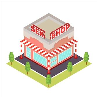Ícone isométrica de sex shop