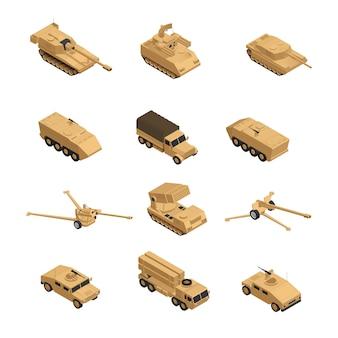 Ícone isométrica de veículos militares conjunto em tons de bege para a guerra e treinamento na ilustração vetorial do exército
