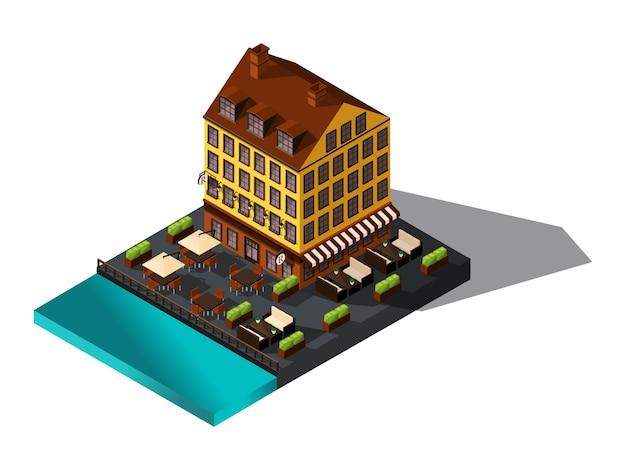 Ícone isométrico, casa à beira-mar, restaurante, dinamarca, paris, o centro histórico da cidade, o antigo prédio do hotel-01