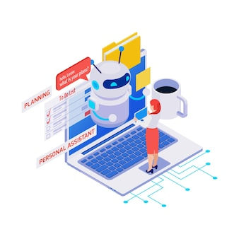 Ícone isométrico com mulher usando o aplicativo de assistente pessoal e planejador no laptop 3d