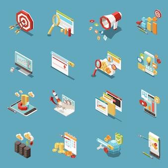 Ícone isométrico da web seo conjunto com elementos de trabalho e ferramentas isoladas abstratas gráficos xícaras de café dinheiro e bandeiras ilustração