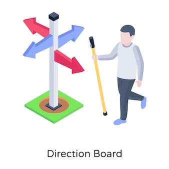 Ícone isométrico de direção de localização de pessoa da placa de direção