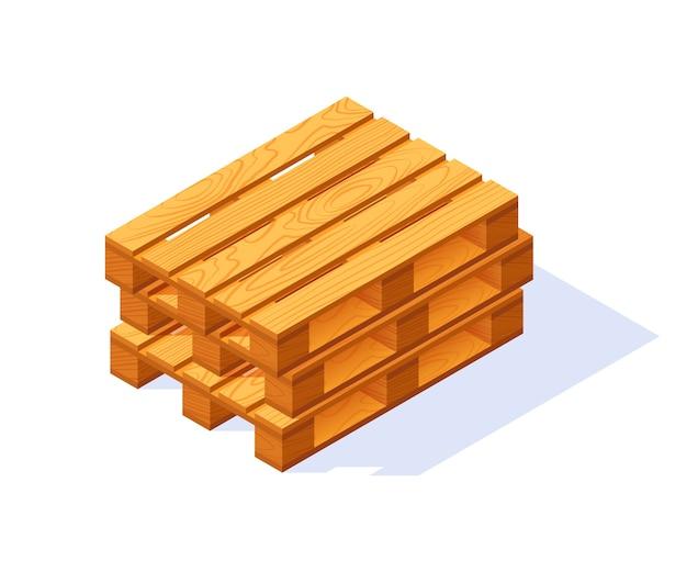 Ícone isométrico de paletes de madeira. isolado em um fundo branco, em estilo simples.