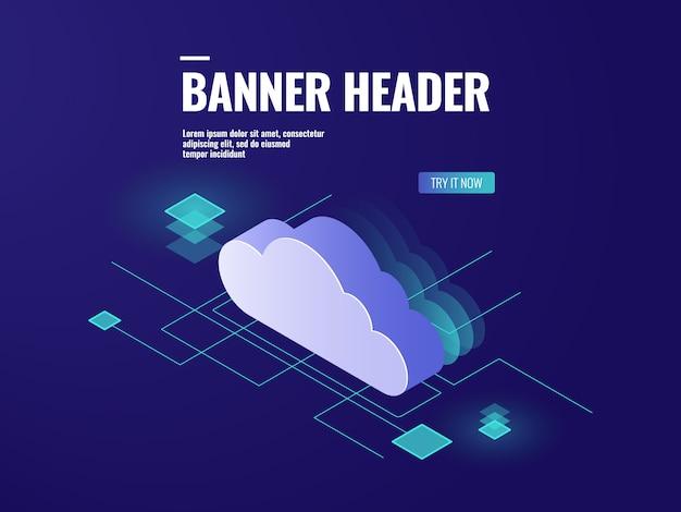 Ícone isométrico de tecnologia de armazenamento em nuvem de dados, sala de servidores, banco de dados e data center