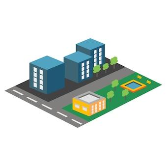 Ícone isométrico de vetor ou elemento infográfico que representa a área residencial da cidade
