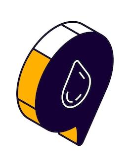 Ícone isométrico do balão de fala com gota, bate-papo online, mensagem de amor