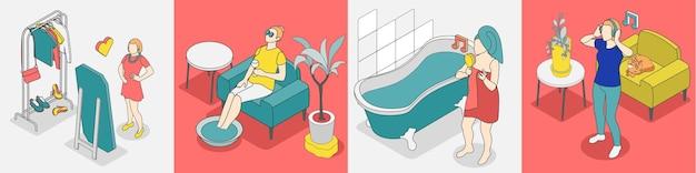 Ícone isométrico do conceito de autocuidado definido com ilustração de relaxamento, relaxamento e outras atividades agradáveis