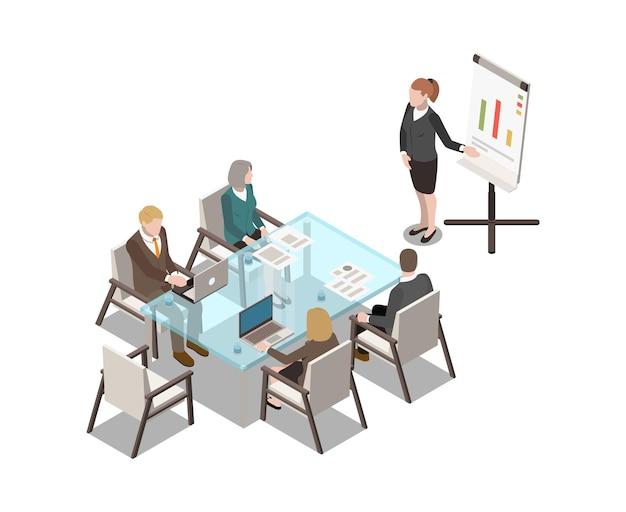 Ícone isométrico do interior da sala de reuniões com quadro branco de mesa de vidro e executivos 3d