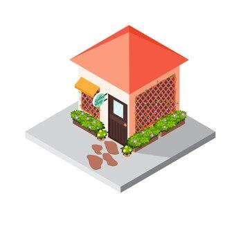 Ícone isométrico edifício café