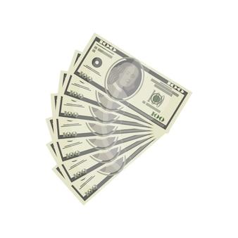 Ícone isométrico isolado de notas de dinheiro