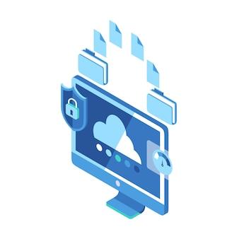 Ícone isométrico que representa pastas, transferindo arquivos com segurança e rapidez no monitor do computador