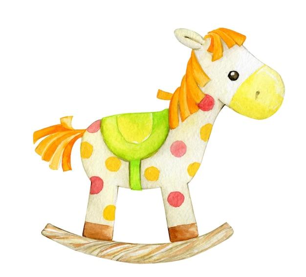 Ícone isotado do cavalo de balanço. ilustração em aquarela