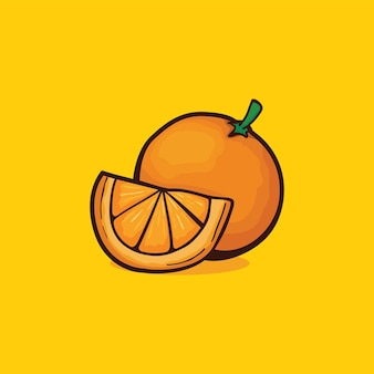 Ícone laranja isolado ilustração vetorial com cor simples de desenho de contorno