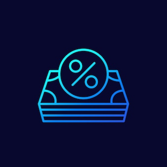 Ícone linear de empréstimo, dinheiro e porcentagem