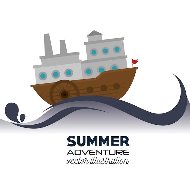 Ícone marinho de madeira de barco