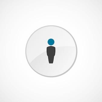 Ícone masculino 2 colorido, cinza e azul, emblema do círculo