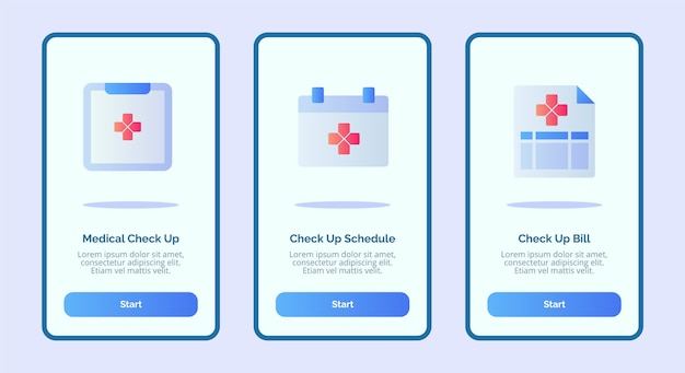 Ícone médico check-up médico agendamento de contas para aplicativos móveis modelo de página de banner ui