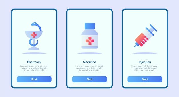 Ícone médico de injeção de medicamentos em farmácias para aplicativos móveis