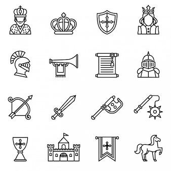 Ícone medieval do ícone ajustado com fundo branco. vetor de estoque de estilo de linha fina.