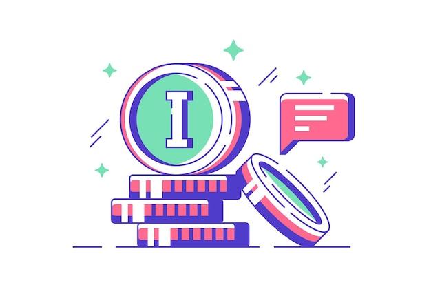 Ícone moderno de moedas digitais para comércio eletrônico com bolha do discurso.