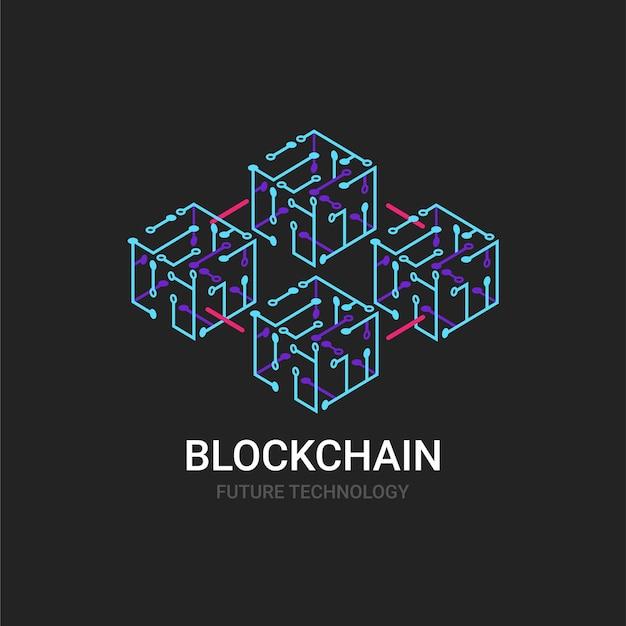 Ícone moderno do conceito de tecnologia blockchain. símbolo ou design de elemento de logotipo com isométrico. ilustração vetorial