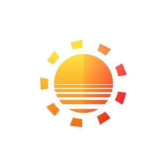 Ícone moderno do sol. forma de círculo ensolarado. símbolo de verão conceito de logotipo de vetor isolado em fundo branco