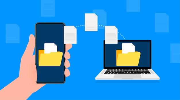 Ícone moderno e plano com transferência de arquivo em fundo azul