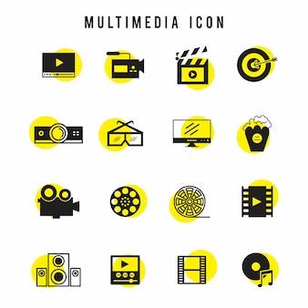Ícone multimídia conjunto preto e amarelo