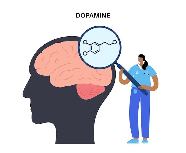 Ícone ou logotipo da fórmula de dopamina. neurotransmissor monoamina e ilustração vetorial de hormônio