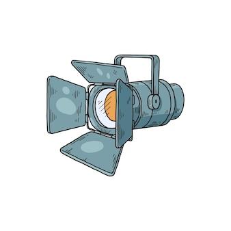 Ícone ou símbolo desenhado de mão de holofotes de cinema ou fotografia, desenho ilustração vetorial isolada na superfície branca
