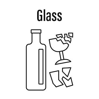 Ícone para classificar resíduos de vidro em uma ilustração vetorial de estilo linear isolada no fundo branco