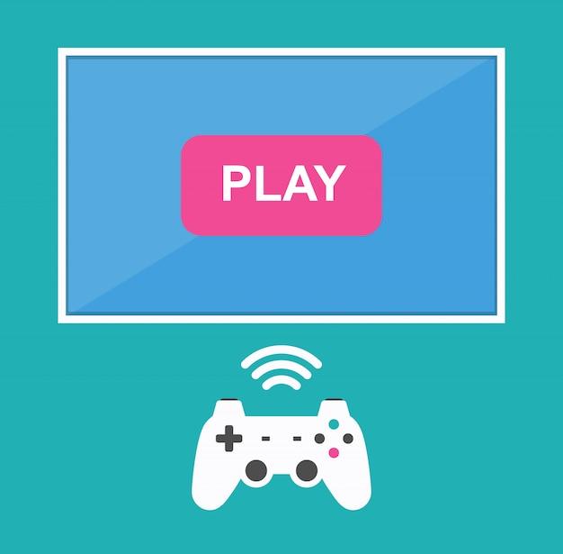 Ícone para jogar em um joystick sem fio na tv.