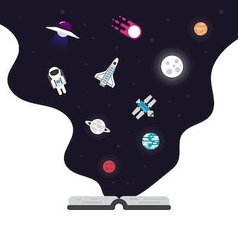 Ícone plana de astronomia