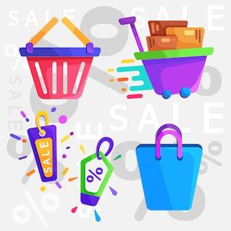 Ícone plana de compras