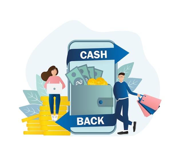 Ícone plano com pessoas de volta em dinheiro