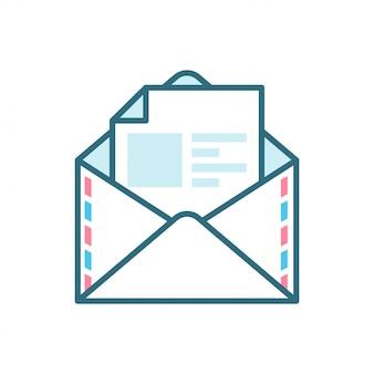 Ícone plano de correio aberto