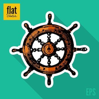 Ícone plano de roda de navios desenhados à mão em estilo esboço