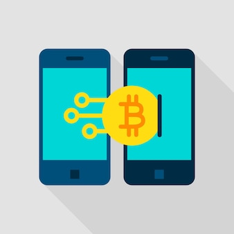 Ícone plano de transação móvel. ilustração vetorial com sombra longa. tecnologia de criptomoeda bitcoin.