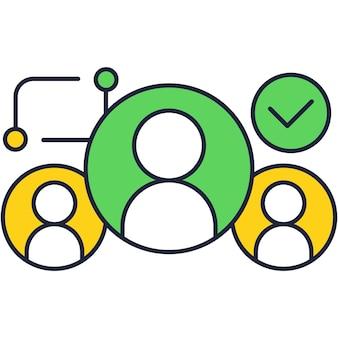 Ícone plano do vetor do banco de dados do cliente da conta crm
