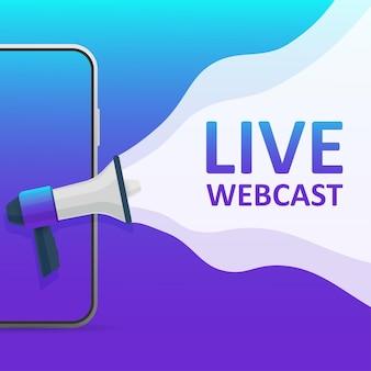 Ícone plano no pano de fundo azul. design de logotipo. ícone de vetor plana de streaming ao vivo.