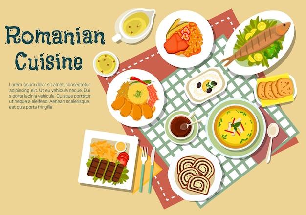 Ícone plano popular de pratos festivos da culinária romena com carnes e peixes grelhados moídos