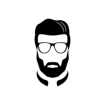 Ícone preto e branco de homem barbudo