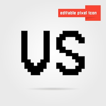 Ícone preto editável vs pixel. conceito de videogame de 8 bits, juntos confronto, inimigo, assalto, luta livre. isolado em fundo cinza. ilustração em vetor design de logotipo moderno tendência estilo pixelart